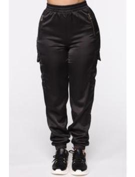 Satin Girl High Rise Joggers   Black by Fashion Nova