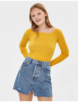 Long Sleeve Off The Shoulder Sweater by Bershka