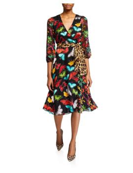Jesse Blouson Sleeve Midi Faux Wrap Dress by Alice + Olivia