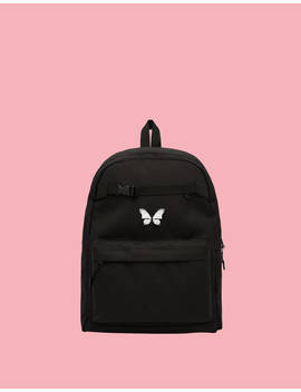 Multi Pocket Backpack With Butterfly by Bershka