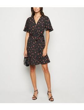 Black Rose Ruffle Wrap Mini Dress by New Look