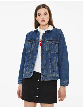 Denim Jacket With Faux Shearling  Null   Bershka Ireland by Bershka