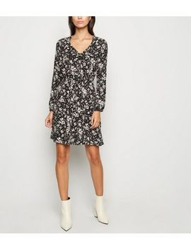 Black Floral Tie Neck Mini Dress by New Look