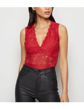 Red Lace Plunge Bodysuit by New Look