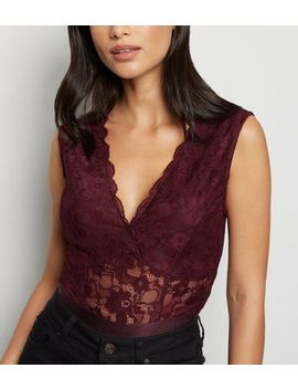 Burgundy Lace Plunge Bodysuit by New Look