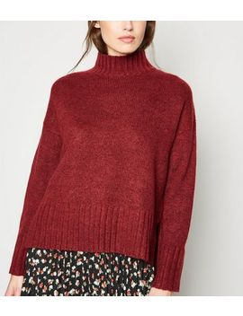 Dark Red Ribbed High Neck Jumper by New Look