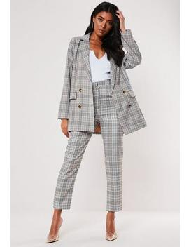 Brown Checked Co Ord Super Oversized Blazer by Missguided