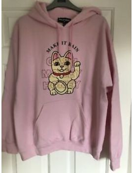 New Girl Order Oversized Hoodie With Graphic And Rhinestone Detail   Size M by New Girl Order