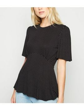 Black Spot Tie Back Blouse by New Look