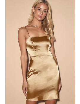 Emalee Gold Satin Bodycon Mini Dress by Lulus