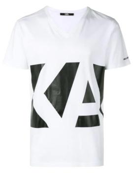 Logo V Neck T Shirt by Karl Lagerfeld