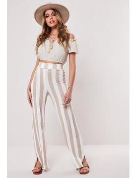 Stone Striped Jersey Wide Leg Trousers by Missguided