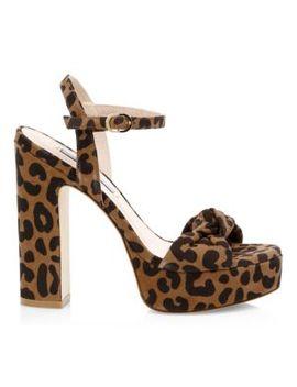 Mirri Cheetah Print Leather Platform Sandals by Stuart Weitzman