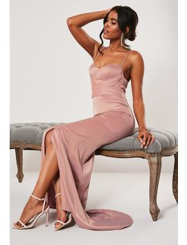 Bridesmaid Blush Chiffon Wrap Fishtail Maxi Dress by Missguided