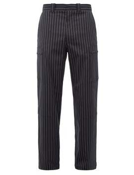 Zipped Pocket Striped Wool Blend Trousers by Jw Anderson