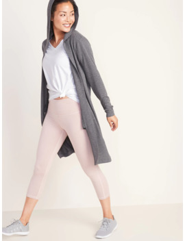 Elongated Open Front French Terry Wrap Hoodie For Women by Old Navy