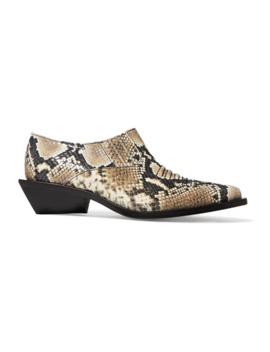 Dolores Snake Effect Leather Ankle Boots by Rejina Pyo