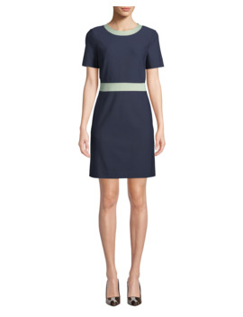 Colorblock Ponte Short Sleeve Dress by Tory Burch