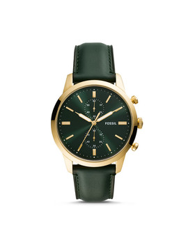 Townsman 44mm Chronograph Dark Green Leather Watch by Fossil