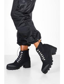 Canvas Block Heel Chunky Hiker Boots by Boohoo