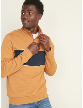 Color Blocked 1/4 Zip Mock Neck Pullover For Men by Old Navy