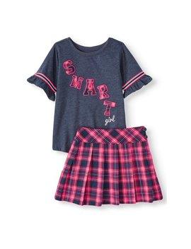 Garanimals Garanimals Short Ruffle Sleeve T Shirt & Pleated Twill Skort, 2pc Outfit Set (Toddler Girls) by Garanimals