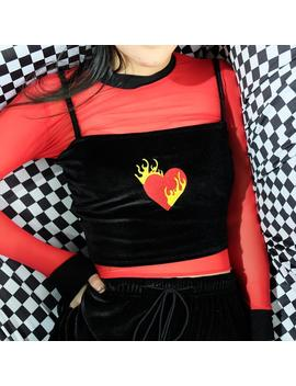 """Flaming Heart"" Velvet Crop Top by Aesthentials"