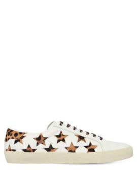 "20 Mm Hohe Sneakers Aus Leder Und Ponyhaar ""Court"" by Saint Laurent"