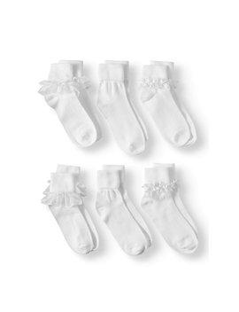 Wonder Nation Girls Socks, 6 Pack Lace Dress (Little Girls & Big Girls) by Wonder Nation
