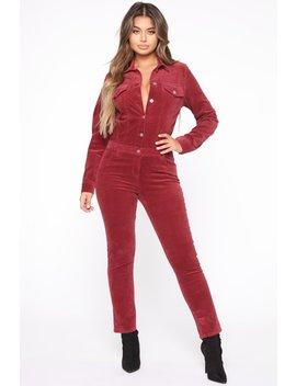 Cut The Cord Jumpsuit   Burgundy by Fashion Nova
