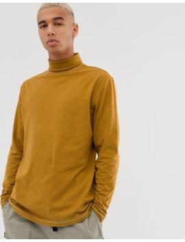 Asos Design – Langärmliges, Legeres T Shirt In Braun Mit Rollkragen Und Abgesetzten Ziernähten by Asos