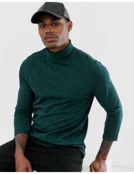 Asos Design – Grünes T Shirt Mit 3/4 Ärmeln Und Rollkragen by Asos