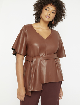 Faux Leather Tie Waist Top by Eloquii