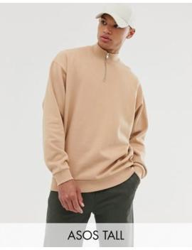 Asos Design Tall – Oversized Sweatshirt In Beige Mit Halblangem Reißverschluss by Asos