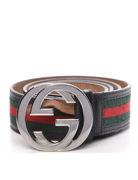 Gucci Calfskin Web Interlocking G Belt 105 42 Black by Gucci