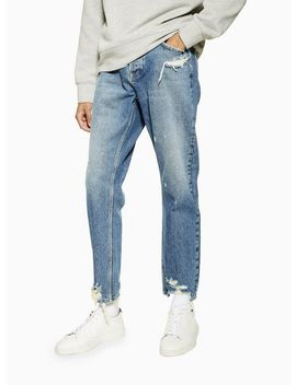 Mid Wash Damaged Tapered Jeans by Topman