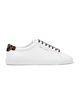 Andy Sneakers Aus Leder Mit Kalbshaarbesatz by Saint Laurent