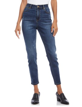 Distressed High Waist Skinny Jeans by Karen Kane