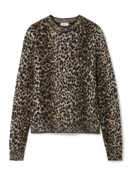 Pullover Aus Jacquard Strick Mit Leopardenprint by Saint Laurent
