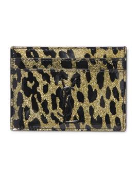 Kartenetui Aus Pvc Mit Leopardenprint Und Glitter Finish by Saint Laurent