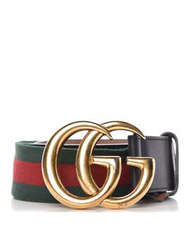 Gucci Nylon Calfskin Double G Web Belt 75 30 Black by Gucci