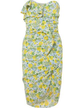 Ruffled Floral Print Silk Blend Georgette Midi Dress by Veronica Beard