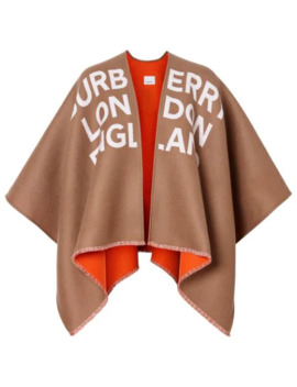Logo Detail Wool Jacquard Cape by Burberry