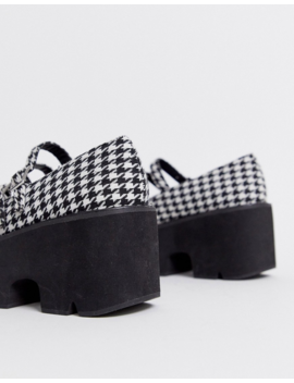 Asos Design Milo Chunky Mary Jane Flat Shoes In Houndstooth by Asos Design