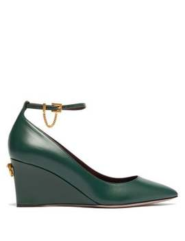 Ringstud Point Toe Leather Wedges by Valentino
