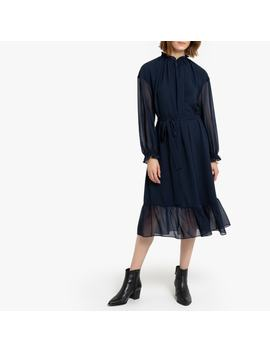 Ruffled High Neck Midi Dress With Tie Waist by La Redoute Collections