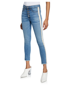 Carly Kick Flare Jeans With Tuxedo Stripes by Veronica Beard