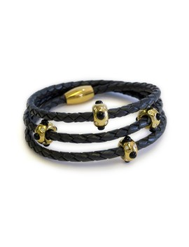 Pow Wow 18k Gold Plated Onyx Premium Leather Triple Wrap Bracelet by Liza Schwartz