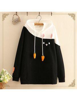 Kawaii Fairyland   Rabbit Print Carrot Detail Long Sleeve Hooded Sweater by Kawaii Fairyland