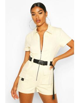 Utility Belted Playsuit by Boohoo